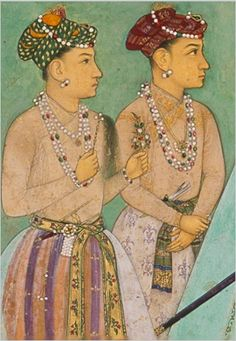 Young Mughal Prince Shah Shuja (left) and Prince Aurangzeb (right). India