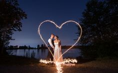 Heart drawn with sparklers