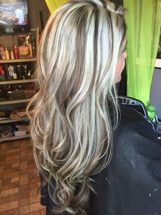Hair platinum highlights