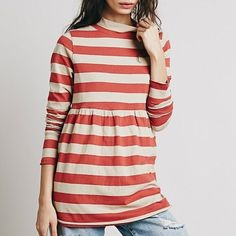 """Free People Mod About It tunic A mock neck and jazzy stripes accent the vintage look of a long-sleeve cotton tunic that releases into a pleated flare at the midriff. 100% cotton. True to size. Boxy fit. Approx 18"""" underarm, 19"""" waist, 14.5"""" shoulder, 28"""" length,  9"""" neck opening. Images are the actual top via Free People. Free People Tops Tunics"""