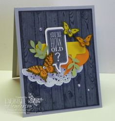 Butterlfy Pop-Up Card View 1 -  Debbie Henderson (USA-Maine), Cardstock: Basic Gray, Smoky Slate, Whisper White, Daffodil Delight, Pumpkin Pie, Pear Pizzazz Inks: Basic Gray Stamps: Papillon Potpourri, Make A Wish, Just Sayin' Hardwood Tools: Bird Punch, Elegant Butterfly Punch, Bitty Butterfly Punch, Word Bubbles Framelits Dies, Ovals Collection Framelits Dies, Stampin' Dimensionals Accessories: Rhinestone Jewels, Tea Lace Doily