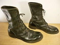 #EtsyWorkwearTeam  #menswear #boots #fallfashion Vintage Men's Combat Military Work Motorcycle Riding by Joeymest
