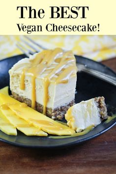 This dairy-free and oil-free cheesecake is SO RICH and creamy and the best I've had! Nobody can believe it's vegan! Made with a delicious caramel that is swirled throughout a delicious coconut butter and cashew butter no-bake cheesecake made with fresh mangos and then topped with more caramel. The result is pure cheesecake bliss that will fool the biggest dairy lovers.