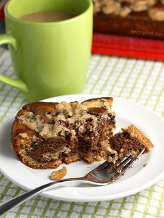 This beautifully easy Chocolate Coffee Cake is sweetened with banana and applesauce and topped with a chocolate-cashew crumb topping.