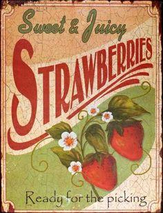 Vintage Strawberry Sign.