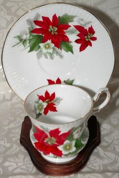 Queens Bone China Footed Cup & Saucer with Christmas Poinsettia design