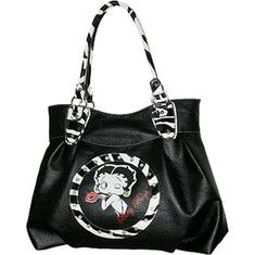 Betty Boop Signature Product Betty Boop™ Bag BQ1012 - Black with FREE Shipping & Returns. This adorable hobo features a back zip pocket, rhinestones and zebra trim