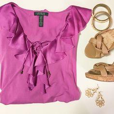 Ralph Lauren Fuchsia Blouse Lovely, soft long sleeve shirt with silky ruffle trim. Like new condition. 97% rayon 3% elastane. Lauren by Ralph Lauren Ralph Lauren Tops Blouses