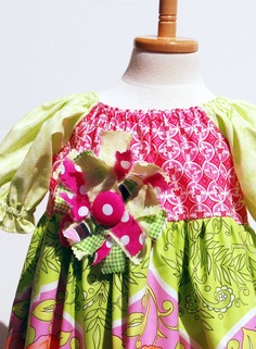 Little Girls Peasant Dress in Pink and Green by pinkmouse on Etsy, $44.00