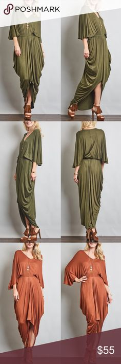 VENUS draped loose sleeve dress - OLIVE Greek Goddess Empire Waist Draped V-Neck 3/4 Sleeved Dress.  AVAILABLE IN BRICK & OLIVE.  * Fabric 96% RAYON, 4% SPAN * Made in U.S.A.  NO TRADE, PRICE FIRM Bellanblue Dresses Maxi