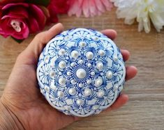 Painted Stone Dandelion Pebbles with Nature Designs floral   Etsy Mandala Art, Mandala Rocks, Flower Mandala, Mandala Design, Stone Mandala, Pebble Painting, Dot Painting, Stone Painting, Stein Gold