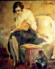 Francisc Şirato (Romanian painter, 1877-1953) - Woman reading (1932)