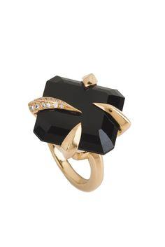 Jewelry Trend: Shining Night  (Tito Pedrini's 18-karat yellow gold, black spinel and diamond ring.)