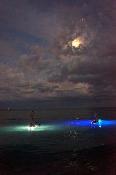 Moonlight paddle boarding in the Keys