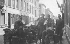 4 MP's from the 82nd Airborne Division with their bikes in Liege, Belgium in late 1945.