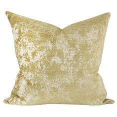Reggio Velvet, Gold - A textured velvet pillow with a herringbone pattern.