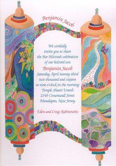Artistic Scroll Bat Mitzvah Invitation
