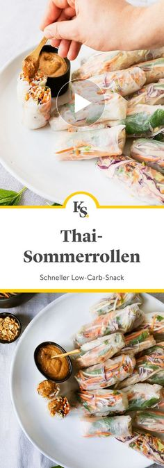 Fancy a simple and tasty low carb # snack? The Thai style from ours with a del Easy Summer Meals, Healthy Summer Recipes, Thai Recipes, Paleo Recipes, Paleo Pizza, Summer Rolls, Peanut Sauce, Food Inspiration, Healthy Eating