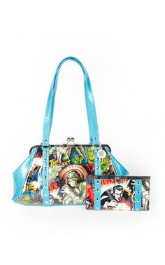 Pinup Girl Clothing- Classic Movie Monster Kisslock Purse and Wallet | Pinup Girl Clothing. WANT!