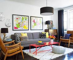 Midcentury modern furniture and layers of colorful accessories brought the living room to life!  http://www.bhg.com/decorating/small-spaces/apartments/small-apartment-makeover/?socsrc=bhgpin111714freshandfun&page=2