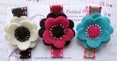 Beaded Felt Flower Trio Hairclip Set-felt flower beaded hairclip alligator easter blue