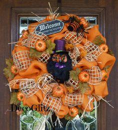 Orange Burlap FAll or Halloween Wreath with OWL and by decoglitz