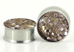 Silver Glass Confetti Plugs Embedded Resin Filled  by GlitzGauge, $18.00