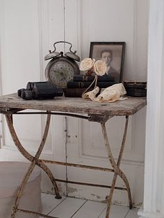Shabby Painted Rustic Table...with old alarm clock...old photo...old books...pastel flowers.