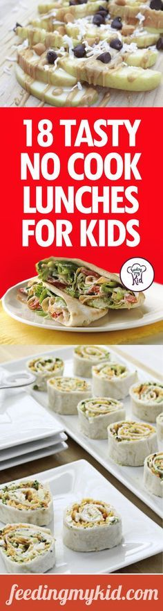 18 Tasty No Cook Lunches For Kids - We've got an amazing list of no cook lunch recipes that you can prepare for your children right in the morning before school. Take the hassle out of preparing healthy lunches. Check out these great recipes! Lunch Snacks, Lunch Recipes, Baby Food Recipes, Healthy Snacks, Eat Healthy, Healthy Cooking, Easy Cooking, Healthy Kids, Cooking Tips