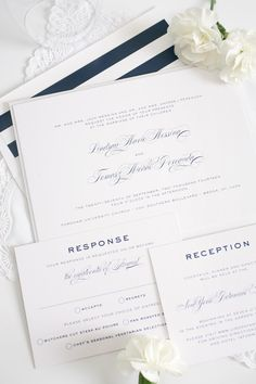 Classic wedding invitations with navy striped accents! http://www.shineweddinginvitations.com/blog/classic-vintage-wedding-invitations-in-navy/