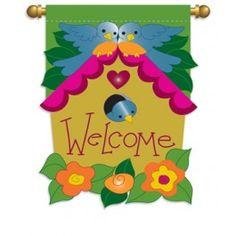 """Bird House"" Applique Seasonal Banner; Polyester 29""x42"" - #springtime #springflowers #gardenflag #flagsaflying"