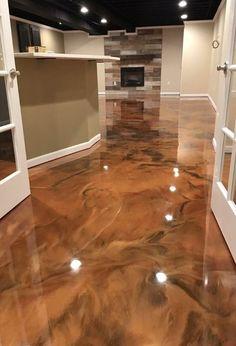 Metallic Epoxy Floor Epoxy Floor Diy, Epoxy Floor Basement, Epoxy Resin Flooring, Metallic Epoxy Floor, Basement Walls, Diy Flooring, Concrete Floors, Kitchen Flooring, Tiled Floors