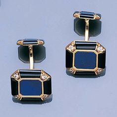 A pair of lapis lazuli, onyx and diamond cufflinks,