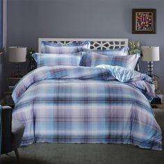 luxury egyptian cotton bedding set gray plaid vintage style quilt duvet cover bedspread linen colorful stripe king size
