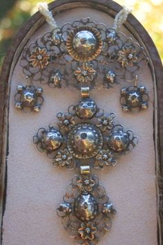 Circa 1790's Georgian Stomacher is French in Origin ,Silver & Gold with Flat Top Rose Cut Diamond Cross