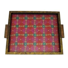 Wooden Red And Pink Embroidered Serving Tray  - FOLKBRIDGE.COM   Buy Gifts. Indian Handicrafts. Home Decorations.