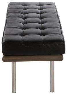 Buy Mies Van Der Rohe Style Small Pavillion Barcelona Style Bench with FREE UK delivery. Swivel UK supply the highest quality reproduction furniture to buy online. Barcelona Bench, Modernist Movement, Reproduction Furniture, Walter Gropius, Stone Carving, Classic Leather, Steel Frame, Van, Style