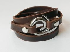 Leather Bracelet Leather Cuff Wrap Bracelet Brown Color with Stainless Swirl Clasp. $14.50, via Etsy.