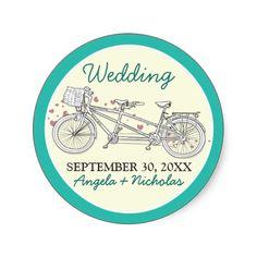 Tandem Bicycle Wedding Invitation Seal (aqua) #weddings #weddinginvitations #bluecolorscheme