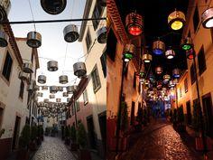 Portugal, lha da Madeira, rua São João de Deus - Luminárias com tambores de máquinas de lavar. http://ciclovivo.com.br/noticia/portugueses-transformam-tambores-de-maquinas-de-lavar-em-luminarias-urbanas/