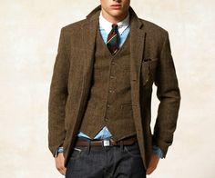 Tweed Waistcoat + Blazer, if you really want to dress up Jeans. I havent ever tried this, but I don't have a matching Tweed Waistcoat and Blazer to try it with. Someday!
