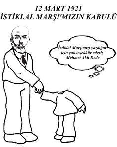 İstiklal Marşının Kabulü 12 Mart 1921 Mehmet Akif ERSOY Boyama Anasınıfı Okul Öncesi