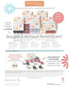 5 anciennes fragrance de retour a compter du 15 mai jusqu'au 31  disponible lors des démos seulement contactez moi pour commander www.partylite.biz/marcelrobidoux
