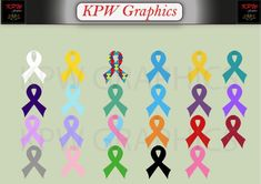 Awareness Ribbons of various colours in a PNG format. Personal & Small Commercial use Awareness Ribbons, School Projects, Commercial, Clip Art, Scrapbook, Colours, Invitations, Messages, This Or That Questions
