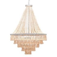 Natural materials bring an organic vibe to the opulent silhouettes of this tiered chandelier, available in two styles: a ceiling version and a cascading shape. The Pia boasts hundreds of wood beads in 10 varying sizes, tapering on the cascading strands, and growing larger from the top of each tier down. Evoking the feeling of sophisticated macramé and chic fringe, the raw beads paired with the piece's gold or silver base makes for a fun and unexpectedly glamorous play on materials…