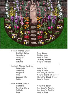 The traditional Mary Garden has its roots in Medieval Europe. The plants and flowers in a Mary Garden represent attributes of Mary. It is similar to an English cottage garden, but with Mary-related...