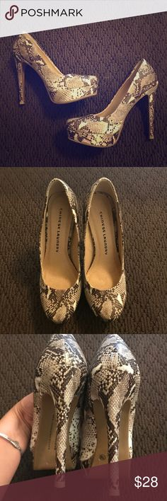 Snake Print Chinese Laundry Heels 👠 🐍 Snake Print Chinese Laundry Heels 👠 🐍Very Good Condition almost like new/Smoke & Pet Free Home Chinese Laundry Shoes Heels