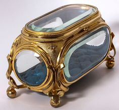 Antique French Deep Beveled Glass Jewelry Box, Casket, Brilliant Dore Ormolu