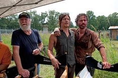 Scott Wilson (Hershel Greene), Norman Reedus (Daryl Dixon) and Andrew Lincoln (Rick Grimes) appear on the set of AMC's 'The Walking Dead's m...