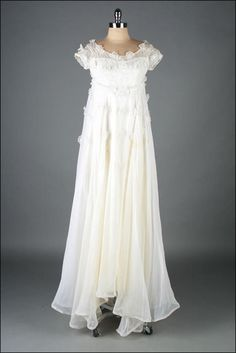 vintage 1960s dress white organza wedding by millstreetvintage